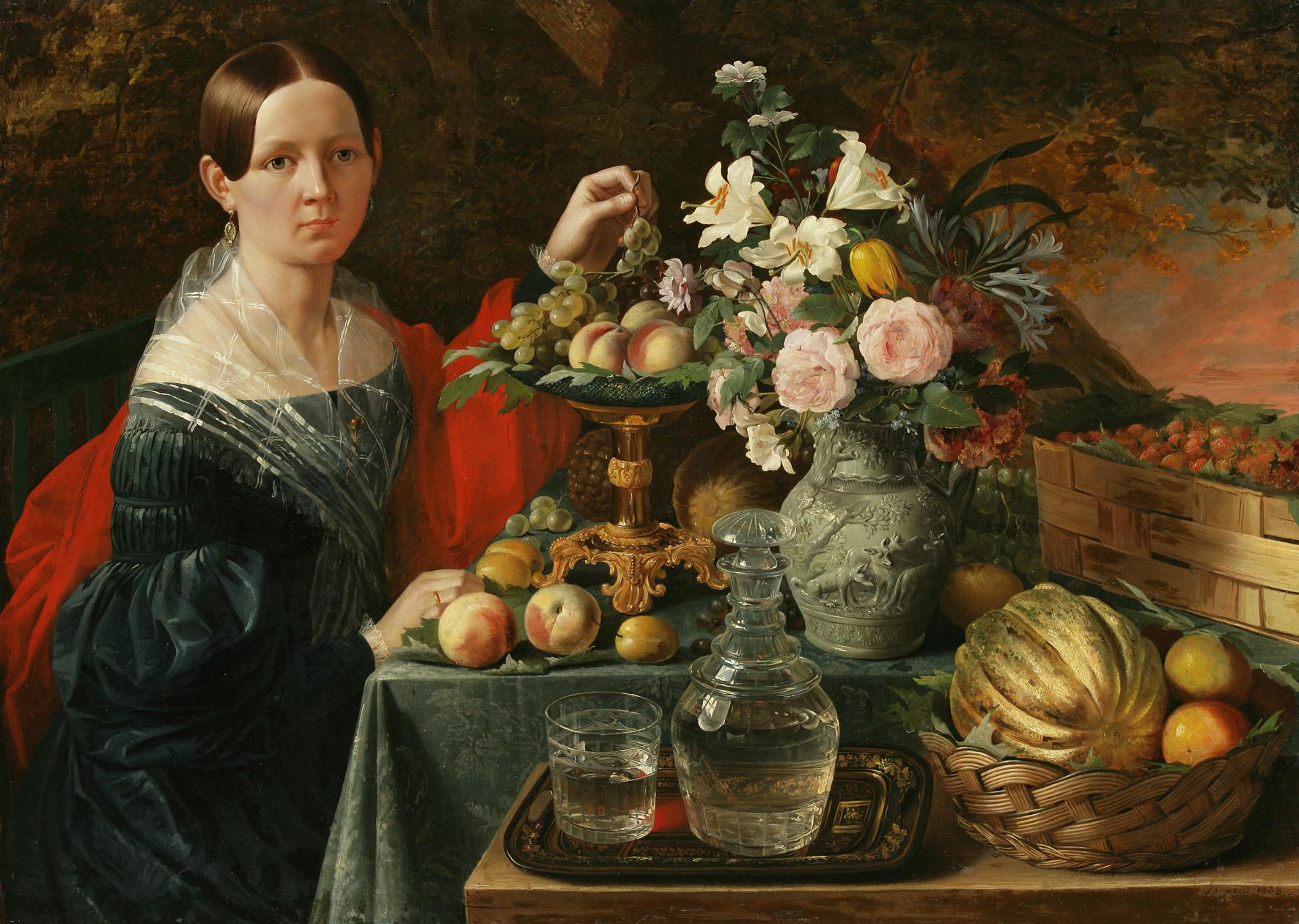 Jan_Chrucki._Partret_nieviadomaj_z_kvietkami_i_fruktami,_1838
